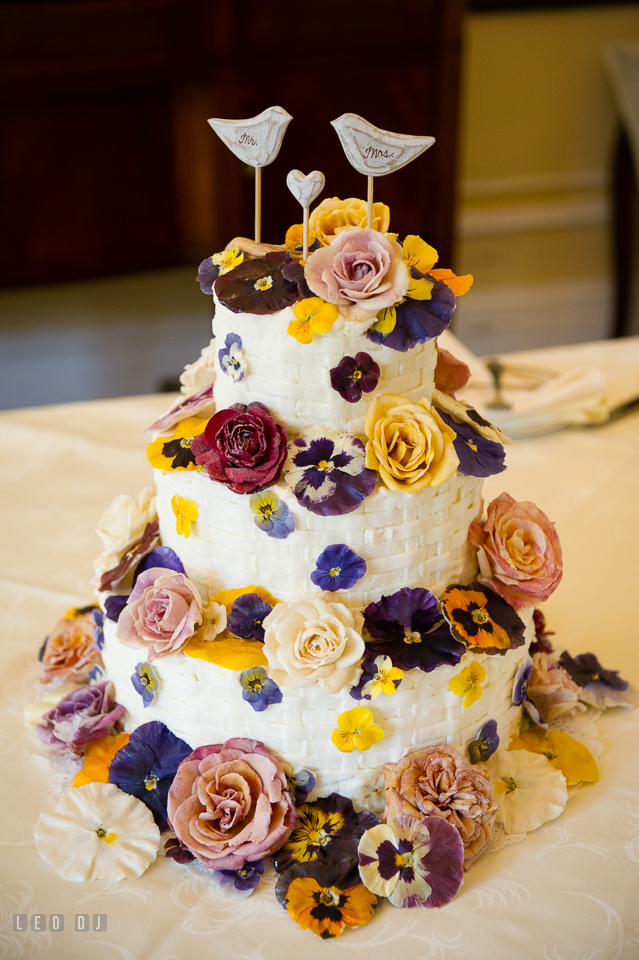 Eastern Shore Maryland wedding Fiona's cake with edible flowers by Gourmet Sweet Botanicals photo by Leo Dj Photography