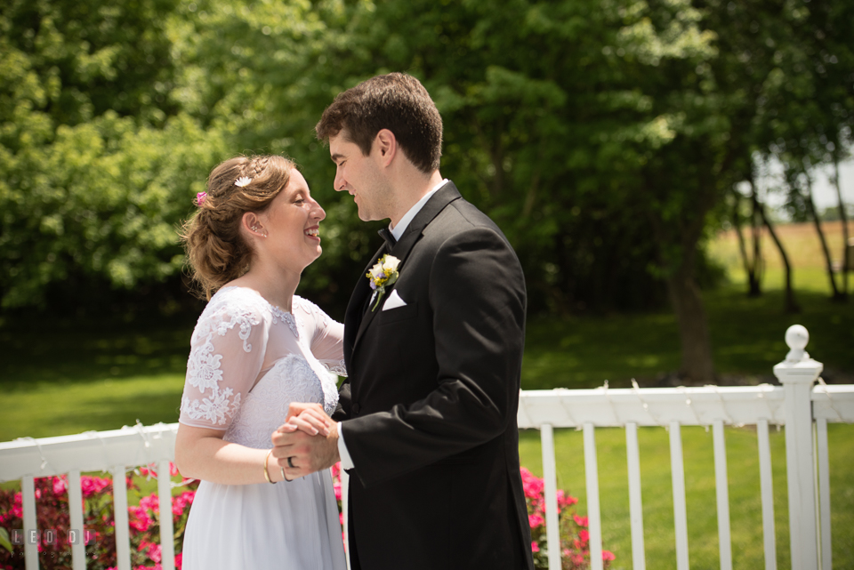 Kent Manor Inn bride groom wedding first dance on patio photo by Leo Dj Photography