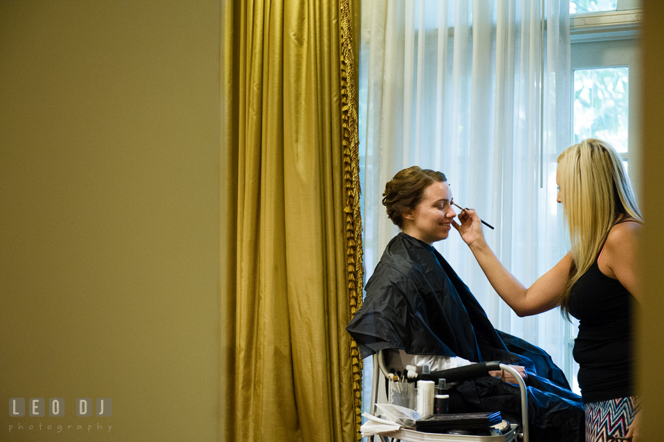 Bride getting her make-up done by Behind the Veil. Historic Inns of Annapolis Maryland, Governor Calvert House Greek wedding, by wedding photographers of Leo Dj Photography. http://leodjphoto.com