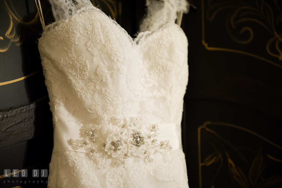 Lace details of Bride's wedding dress from Belissima Bridal Salon. Historic Inns of Annapolis Maryland, Governor Calvert House Greek wedding, by wedding photographers of Leo Dj Photography. http://leodjphoto.com
