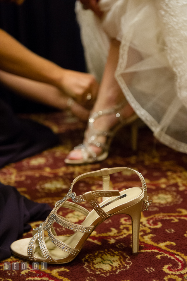Bride's pretty shoes. Historic Inns of Annapolis Maryland, Governor Calvert House Greek wedding, by wedding photographers of Leo Dj Photography. http://leodjphoto.com