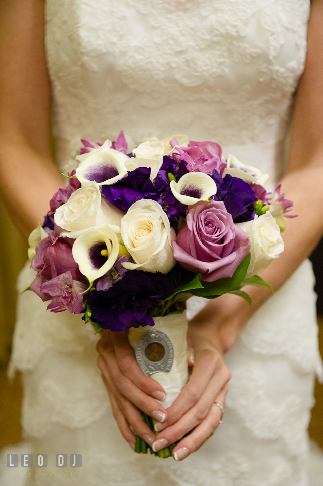 Lovely wedding bouquet for the Bride from florist Fantastic Flowers. Historic Inns of Annapolis Maryland, Governor Calvert House Greek wedding, by wedding photographers of Leo Dj Photography. http://leodjphoto.com