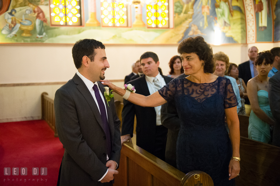 Groom and the Mother anxiously waiting for the Bride. Saints Constantine and Helen Greek Orthodox Church wedding, by wedding photographers of Leo Dj Photography. http://leodjphoto.com