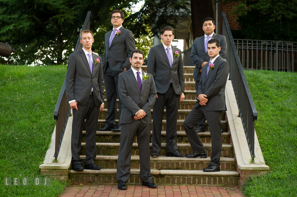 The Groom and his Bestman and Groomsmen. Historic Inns of Annapolis Maryland, Governor Calvert House Greek wedding, by wedding photographers of Leo Dj Photography. http://leodjphoto.com