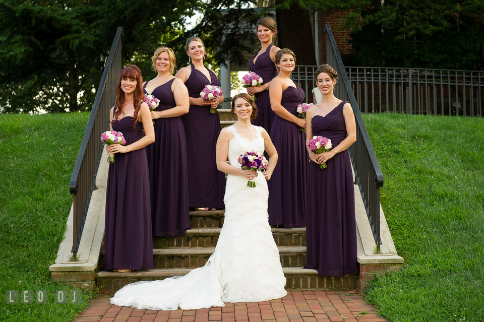 The Bride, Maid of Honor, and Bridesmaids. Historic Inns of Annapolis Maryland, Governor Calvert House Greek wedding, by wedding photographers of Leo Dj Photography. http://leodjphoto.com