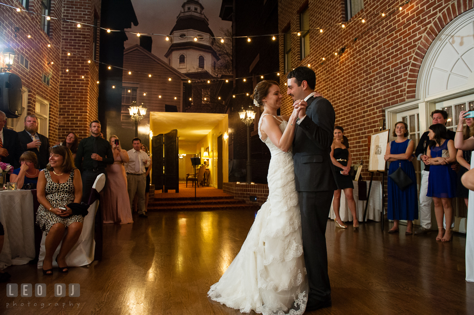 Bride and Groom's first dance. Historic Inns of Annapolis Maryland, Governor Calvert House Greek wedding, by wedding photographers of Leo Dj Photography. http://leodjphoto.com