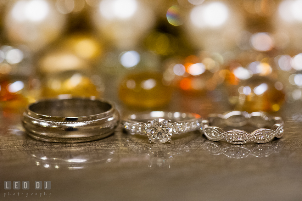 The diamond engagement ring and wedding bands. Historic Inns of Annapolis Maryland, Governor Calvert House Greek wedding, by wedding photographers of Leo Dj Photography. http://leodjphoto.com