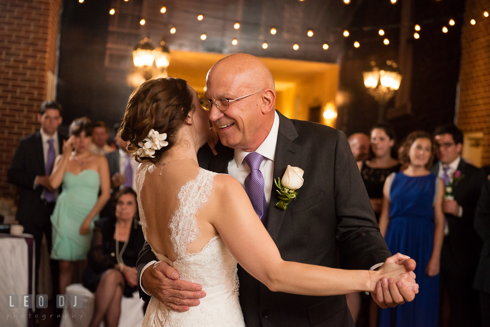 Bride and her father dancing. Historic Inns of Annapolis Maryland, Governor Calvert House Greek wedding, by wedding photographers of Leo Dj Photography. http://leodjphoto.com