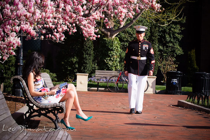 Engaged Marine officer in military uniform walking to his fiancée. Pre wedding engagement photo Washington DC Smithsonians museum and Ronald Reagan Washington National Airport DCA, by wedding photographer Leo Dj Photography