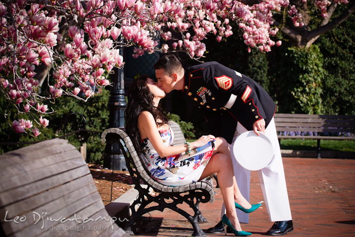 Engaged Marine officer in military uniform kissed his fiancée. Pre wedding engagement photo Washington DC Smithsonians museum and Ronald Reagan Washington National Airport DCA, by wedding photographer Leo Dj Photography