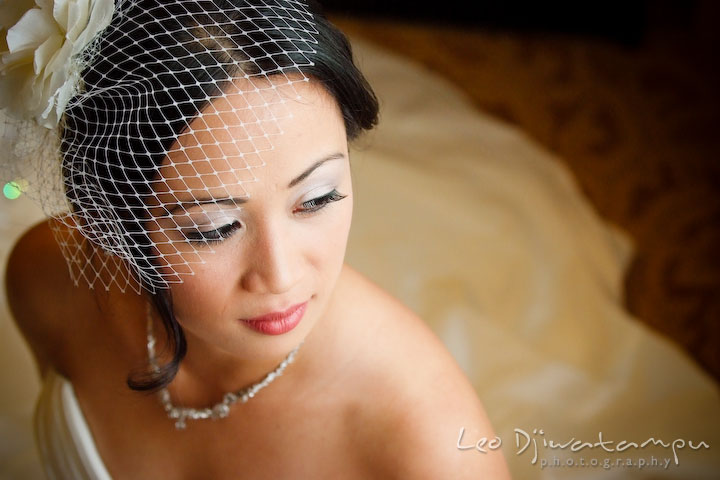 Beautiful Asian bride in her make up, with veil and hairdo. Falls Church Virginia 2941 Restaurant Wedding Photography