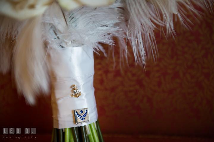 US Air Force pins on Bride's floral bouquet. Marriott Washingtonian Center wedding at Gaithersburg Maryland, by wedding photographers of Leo Dj Photography. http://leodjphoto.com