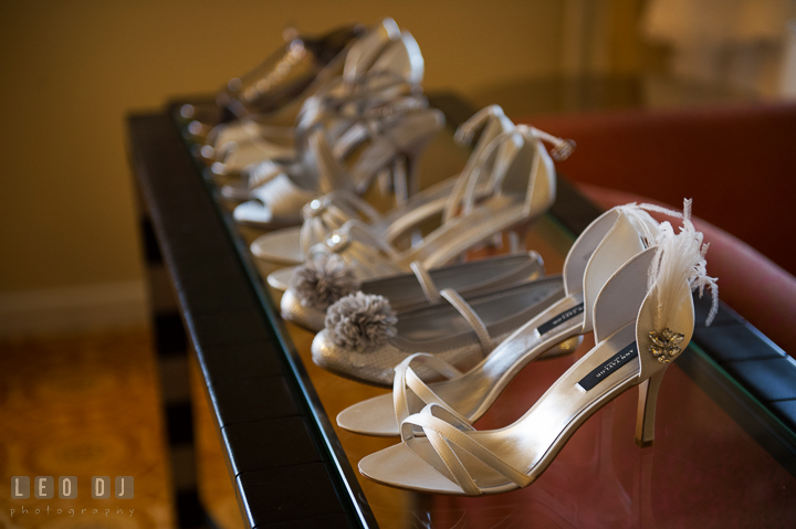 Bride's weddding shoes and the shoes of flower girl, bridesmaids and maid of honor. Marriott Washingtonian Center wedding at Gaithersburg Maryland, by wedding photographers of Leo Dj Photography. http://leodjphoto.com
