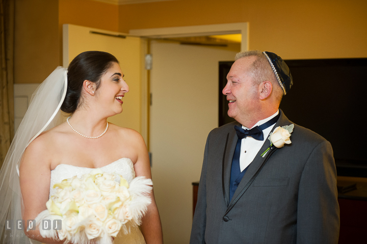 Father or Bride seeing daughter the first time in her wedding dress. Marriott Washingtonian Center wedding at Gaithersburg Maryland, by wedding photographers of Leo Dj Photography. http://leodjphoto.com