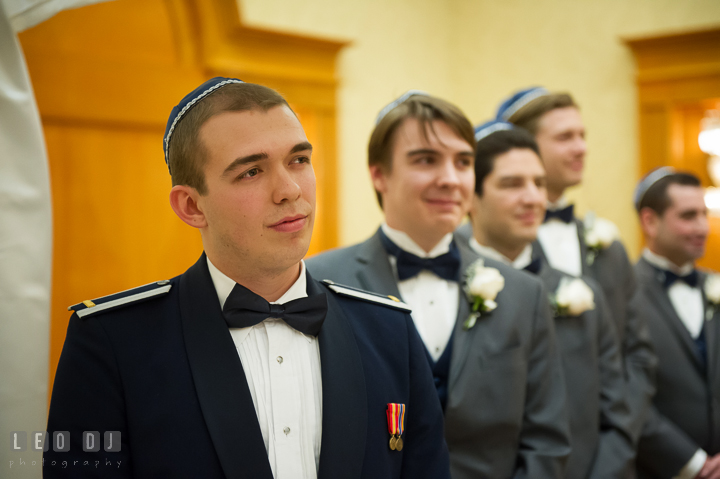 Groom and his party seeing Bride for the first time walking down the aisle. Marriott Washingtonian Center wedding at Gaithersburg Maryland, by wedding photographers of Leo Dj Photography. http://leodjphoto.com