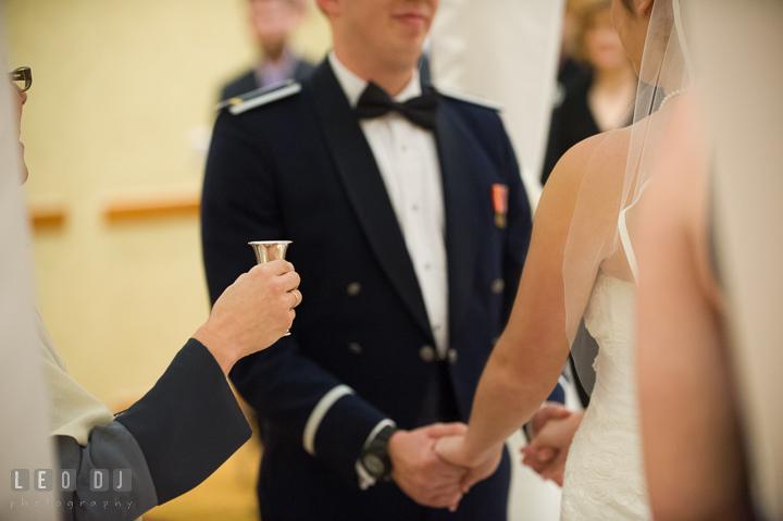 Rabbi Jane Berman offering wine for Bride and Groom during Jewish wedding ceremony. Marriott Washingtonian Center wedding at Gaithersburg Maryland, by wedding photographers of Leo Dj Photography. http://leodjphoto.com