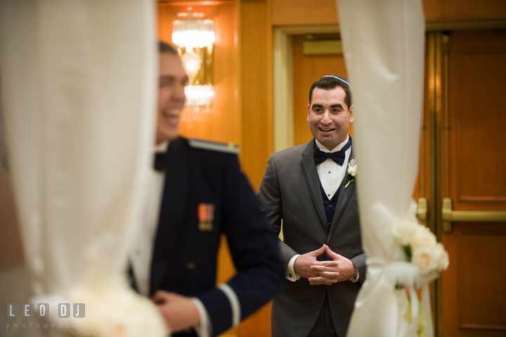 Groomsman delivering speech and blessings for Bride and Groom during ceremony. Marriott Washingtonian Center wedding at Gaithersburg Maryland, by wedding photographers of Leo Dj Photography. http://leodjphoto.com