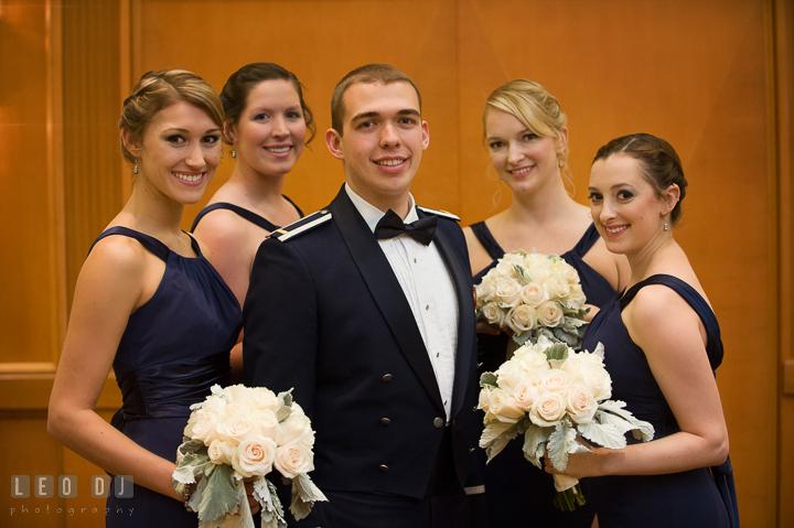 Groom posing with the Maid of Honor and Bridesmaids. Marriott Washingtonian Center wedding at Gaithersburg Maryland, by wedding photographers of Leo Dj Photography. http://leodjphoto.com