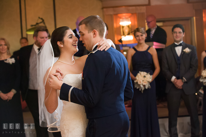 Bride smiling while doing first dance with Groom. Marriott Washingtonian Center wedding at Gaithersburg Maryland, by wedding photographers of Leo Dj Photography. http://leodjphoto.com