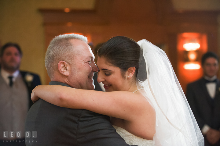 Father of Bride dancing with daughter during parent dance. Marriott Washingtonian Center wedding at Gaithersburg Maryland, by wedding photographers of Leo Dj Photography. http://leodjphoto.com