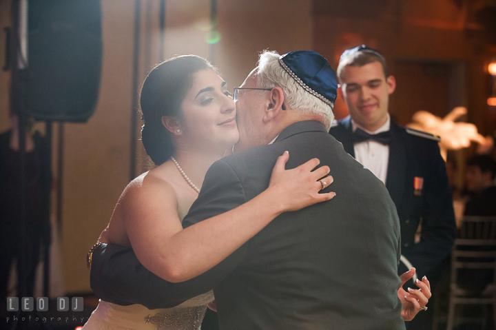 Bride hugging Grandfather. Marriott Washingtonian Center wedding at Gaithersburg Maryland, by wedding photographers of Leo Dj Photography. http://leodjphoto.com