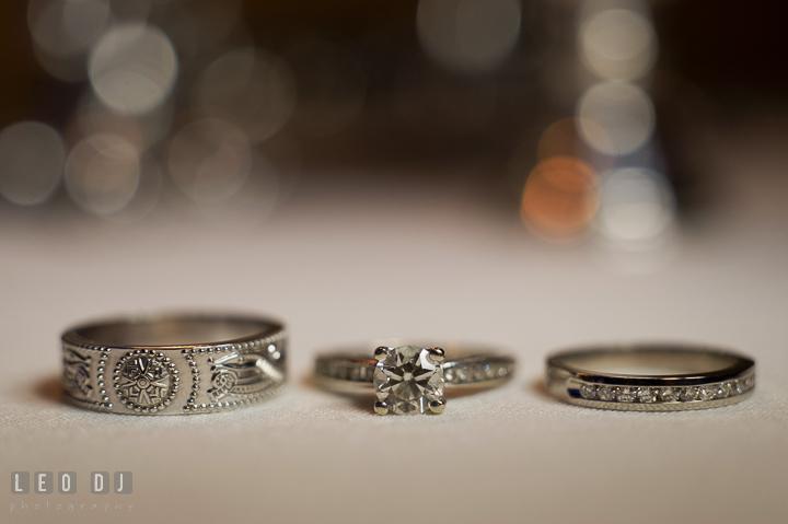 Bride's engagement and wedding ring, and Groom's wedding band. Marriott Washingtonian Center wedding at Gaithersburg Maryland, by wedding photographers of Leo Dj Photography. http://leodjphoto.com