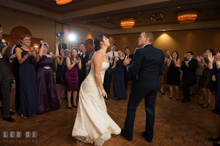 Bride and Groom singalong with song played by Diamond Alley Band. Marriott Washingtonian Center wedding at Gaithersburg Maryland, by wedding photographers of Leo Dj Photography. http://leodjphoto.com