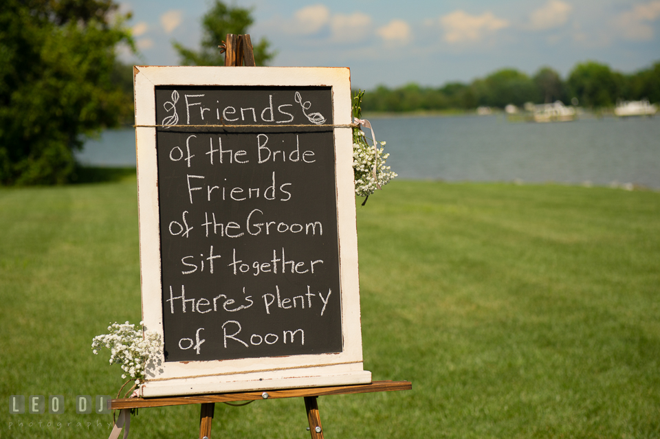 The Oaks Waterfront Inn invitation sign at the ceremonial area photo by Leo Dj Photography