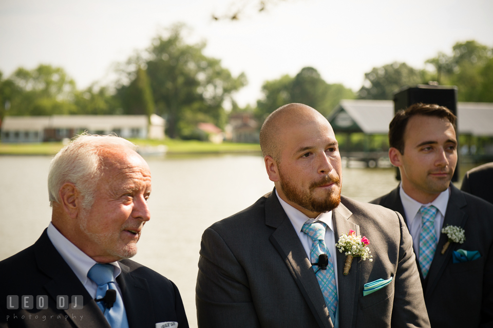 The Oaks Waterfront Inn Groom almost cried seeing Bride walking down the aisle photo by Leo Dj Photography