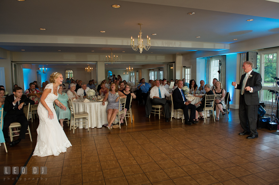 The Oaks Waterfront Inn Father of the Bride doing silly move during Father-Daughter dance photo by Leo Dj Photography
