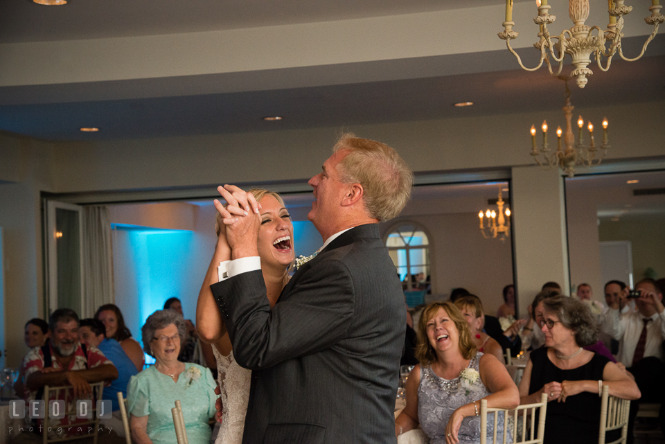 The Oaks Waterfront Inn Bride laughing during dance with Father of the Bride photo by Leo Dj Photography