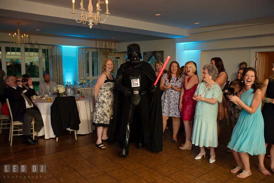 The Oaks Waterfront Inn Darth Vader impersonator entering ballroom with them song from Star Wars movie photo by Leo Dj Photography