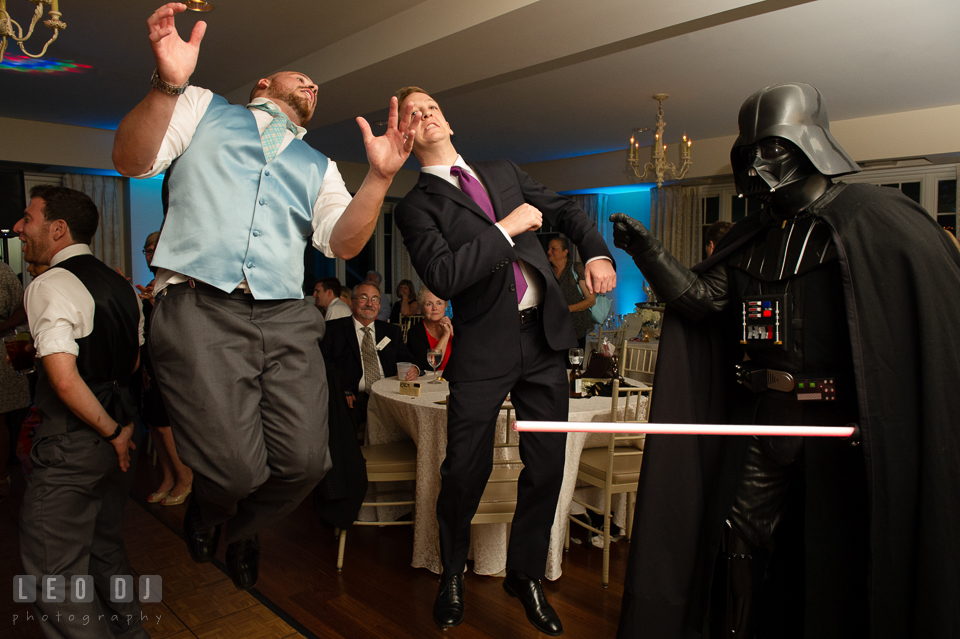 The Oaks Waterfront Inn Darth Vader impersonator choked Groom and guest photo by Leo Dj Photography