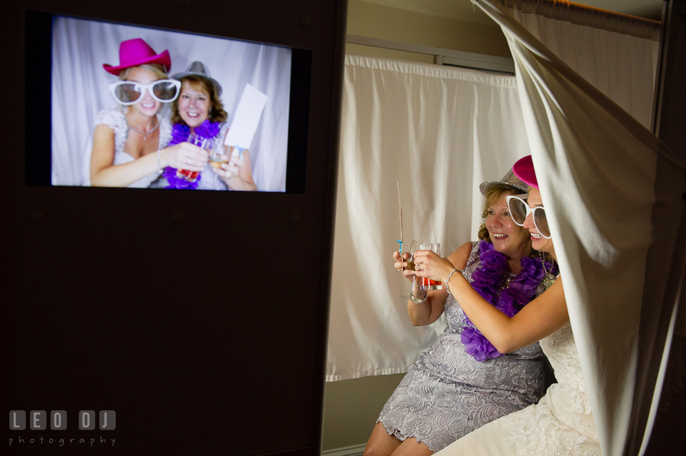 The Oaks Waterfront Inn Bride and her Mother posing in photo booth photo by Leo Dj Photography