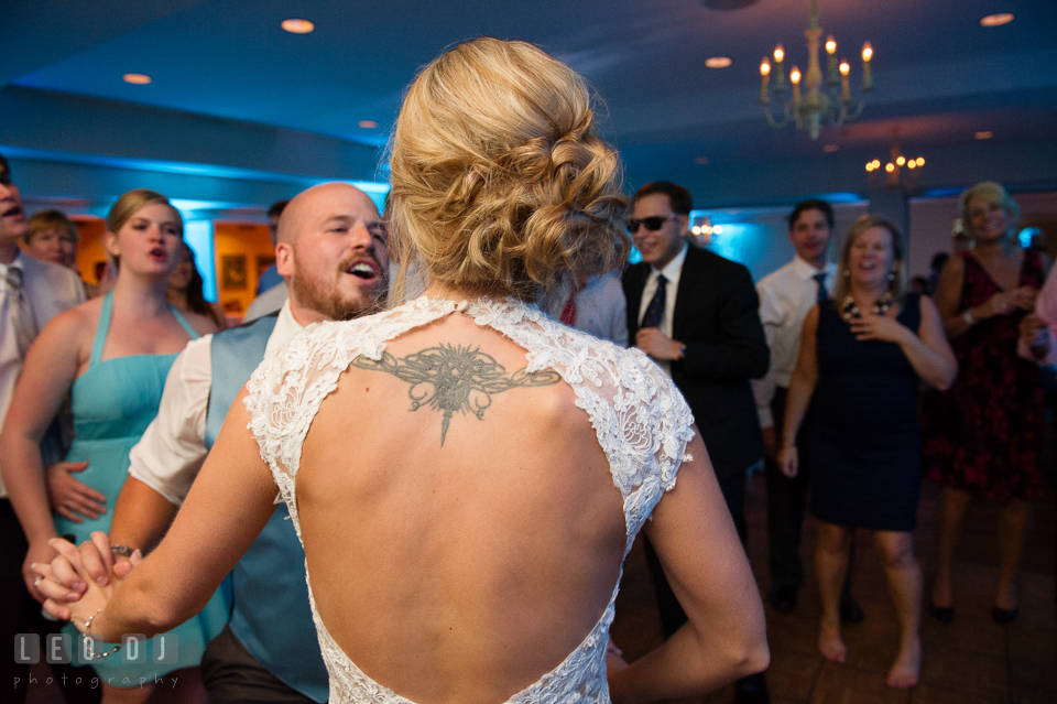 The Oaks Waterfront Inn Groom dancing and twirling Bride photo by Leo Dj Photography