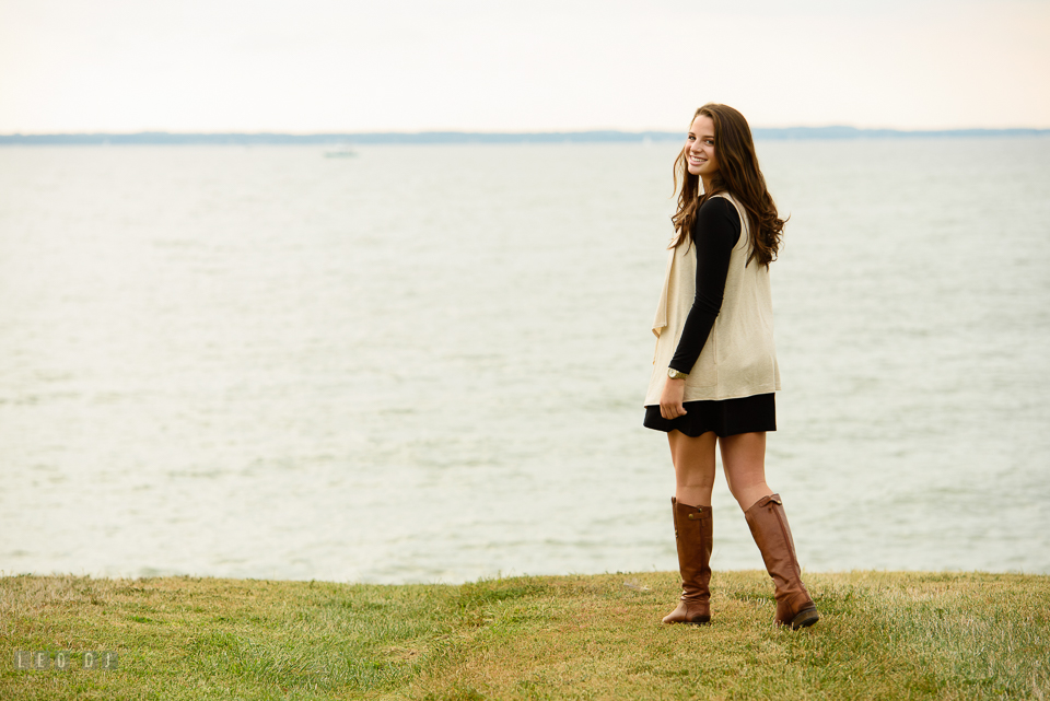 McDonogh High School Maryland senior beautiful girl walking by the water photo by Leo Dj Photography.