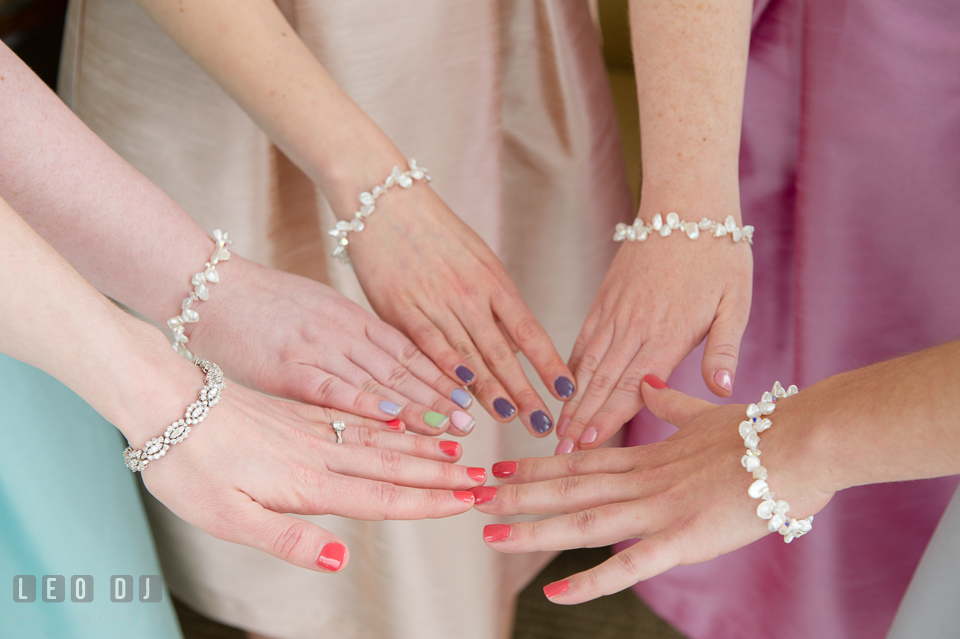 Four Seasons Hotel Baltimore Bride and Bridesmaids showing colorful fingernails photo by Leo Dj Photography