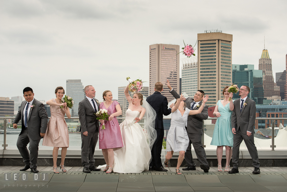 Four Seasons Hotel Baltimore wedding bridal party goofy pose photo by Leo Dj Photography