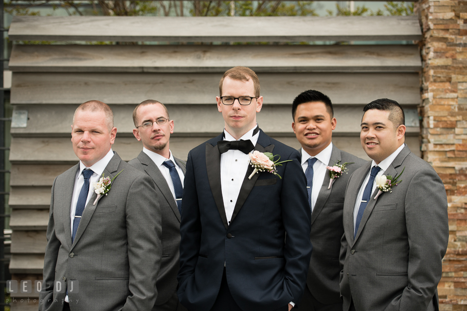 Four Seasons Hotel Baltimore wedding Groom, Best Man, and Groomsmen photo by Leo Dj Photography