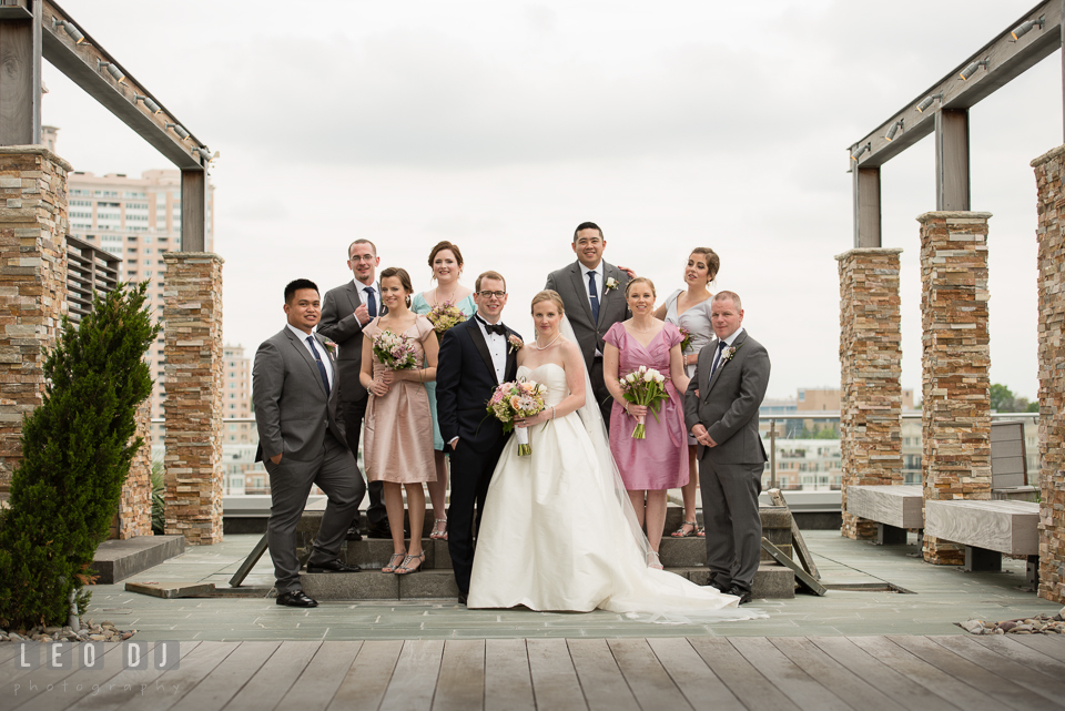 Four Seasons Hotel Baltimore Bride, Groom and the whole wedding party photo by Leo Dj Photography