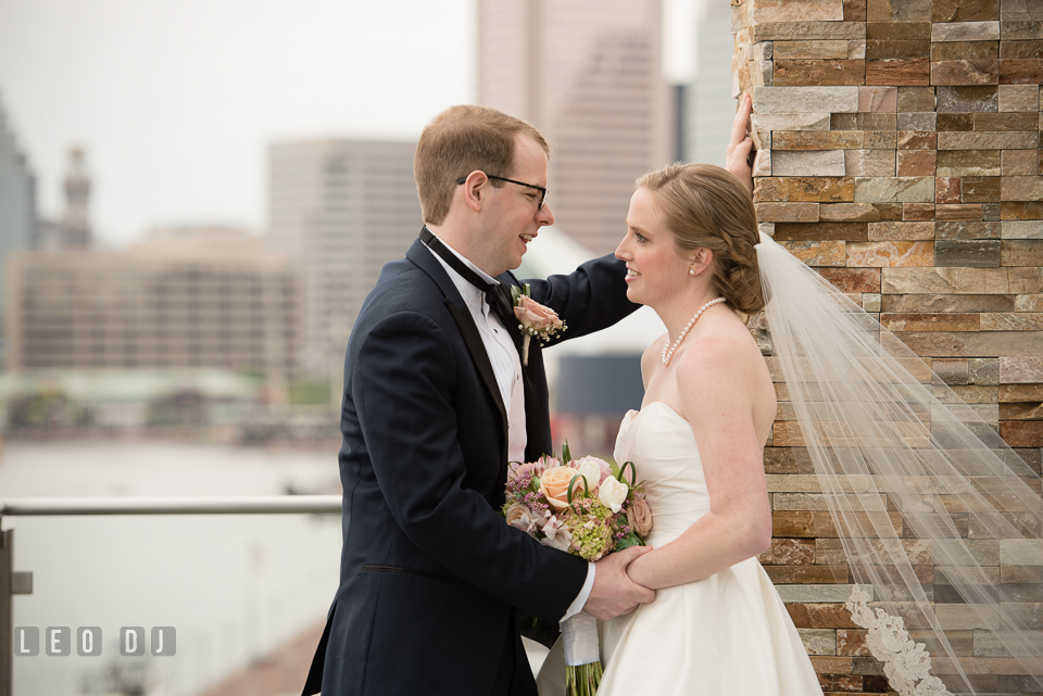Charm City Baltimore Wedding Bride and Groom smiling photo by Leo Dj Photography