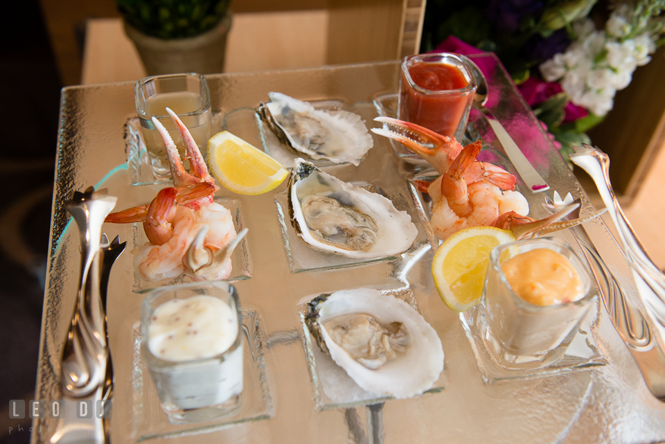 Four Seasons Hotel Baltimore shrimp, Maryland crab claw, and raw oyster photo by Leo Dj Photography