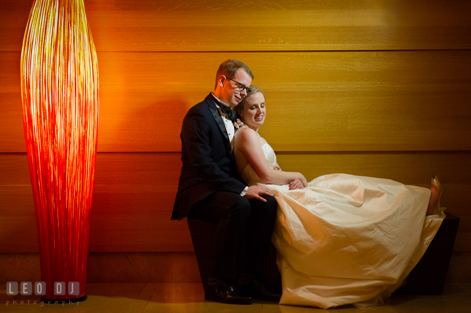Four Seasons Hotel Baltimore wedding Bride lounging with Groom romantic session photo by Leo Dj Photography