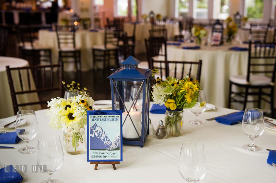 Table decor for the wedding reception. Kent Island Maryland Chesapeake Bay Beach Club wedding photo, by wedding photographers of Leo Dj Photography. http://leodjphoto.com