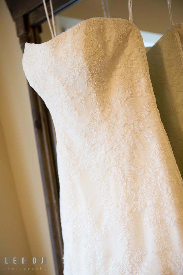 Simple but beautiful wedding gown from Betsy Robinson Bridal. Kent Island Maryland Chesapeake Bay Beach Club wedding photo, by wedding photographers of Leo Dj Photography. http://leodjphoto.com