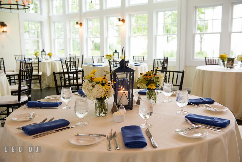Lovely table centerpieces. Kent Island Maryland Chesapeake Bay Beach Club wedding photo, by wedding photographers of Leo Dj Photography. http://leodjphoto.com