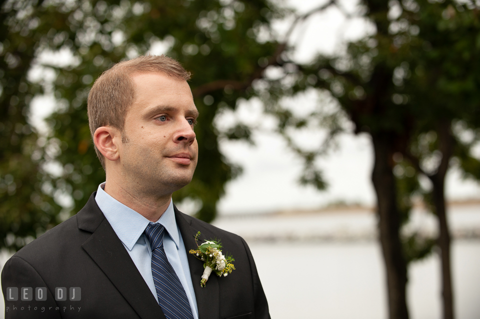 The Groom seeing his Bride for the first time. Kent Island Maryland Chesapeake Bay Beach Club wedding photo, by wedding photographers of Leo Dj Photography. http://leodjphoto.com