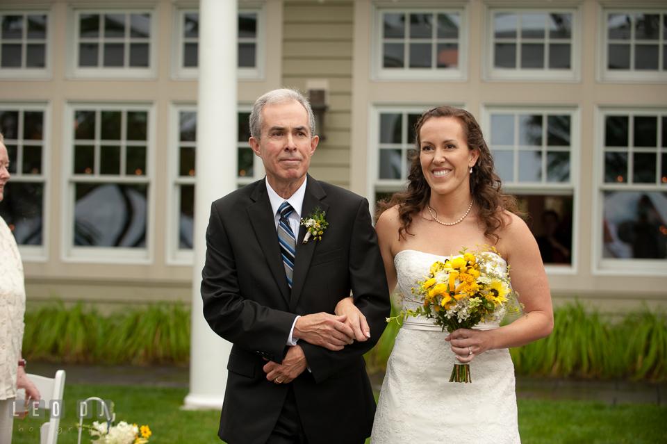 Father of the Bride walked her daughter down the aisle. Kent Island Maryland Chesapeake Bay Beach Club wedding photo, by wedding photographers of Leo Dj Photography. http://leodjphoto.com