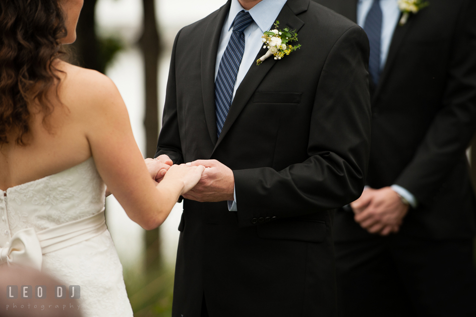 Bride and Groom reciting their vows during the ceremony. Kent Island Maryland Chesapeake Bay Beach Club wedding photo, by wedding photographers of Leo Dj Photography. http://leodjphoto.com