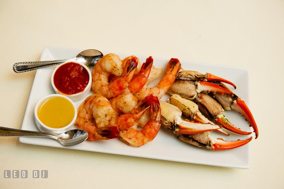 Shrimps and crab claws hor d'oeuvres. Kent Island Maryland Chesapeake Bay Beach Club wedding photo, by wedding photographers of Leo Dj Photography. http://leodjphoto.com